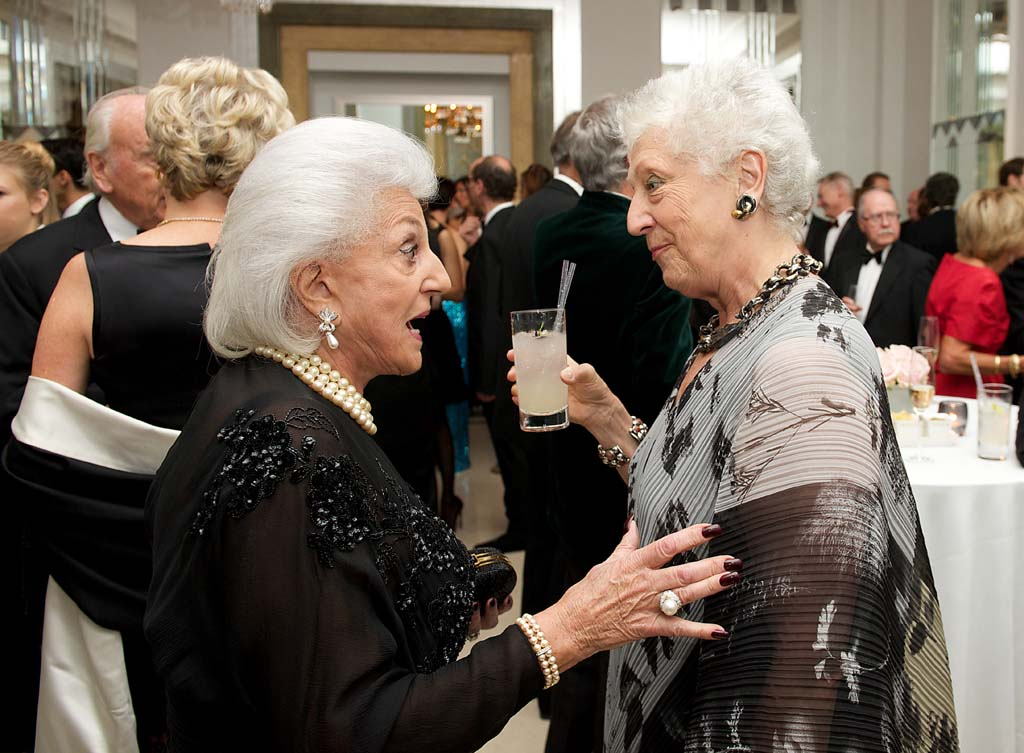 Two female guests in conversation.