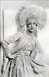 Karsavina in Russian dance costume 1929. Dress by Gontcharova. Photographer unknown.