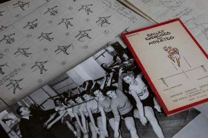Collage of photos, notation and booklet titled 'Ballet Exercises for Athletes'
